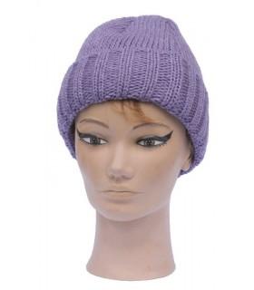 Bonnet laine à revers violet
