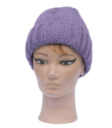 Men's or women's wool beanie folded brim