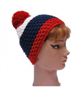 Bonnet laine et pompon bleu rouge