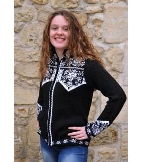 Gilet laine jacquard nordique femme noir et blanc