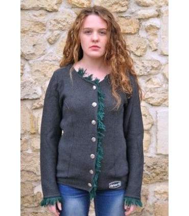 Vest Nordic women wool Jacquard grey and green