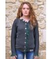 Gilet laine nordique femme gris et vert
