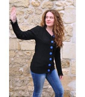 Gilet laine avec boutons nordique femme noir