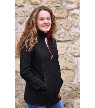 Gilet nordique en pure laine femme noir