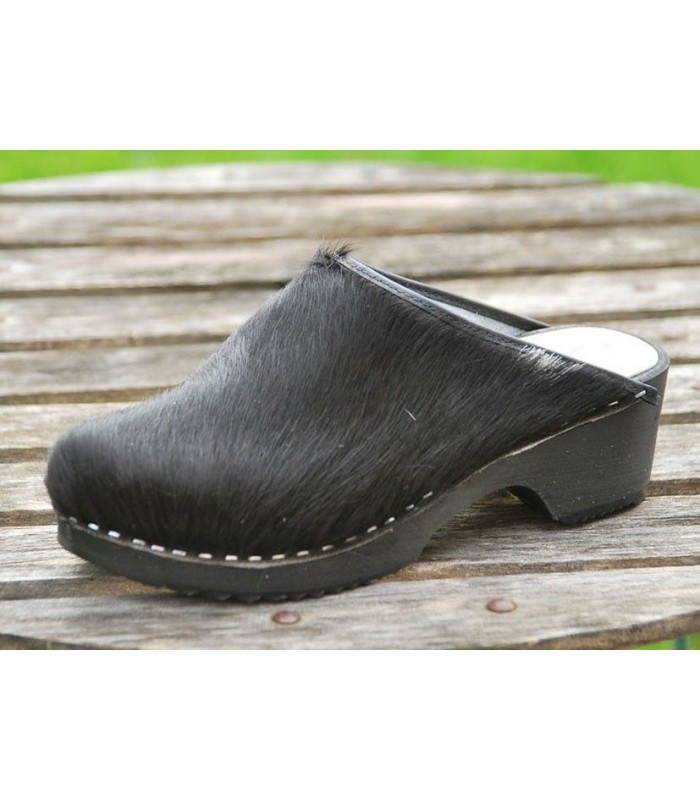 black wooden clogs black cow peal