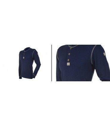 Maillot thermique homme pure laine mérinos bleu marine avec boutons