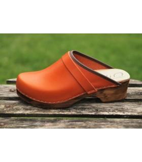 women leather swedish wooden clogs vegetable orange