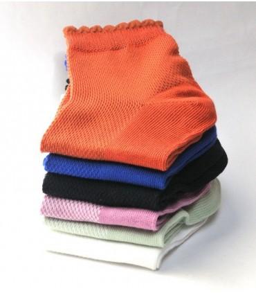 Socquettes femmes en coton aéré fines non comprimantes