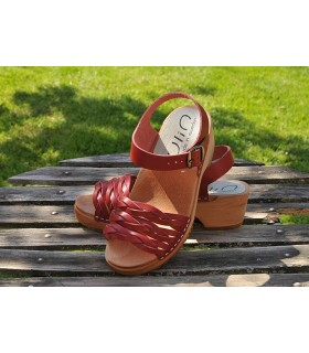 Swedish wooden Sandals braided leather