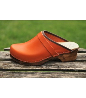 vegetal leather orange women swedish clogs