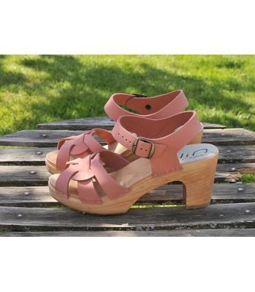 Sandales suédoises hautes femme bois et cuir rose bleu moka