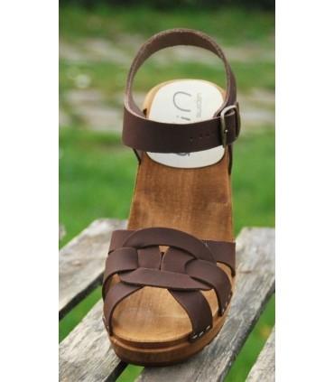 Sandales sabots suédoises femme en cuir Nubuck et talon haut bois