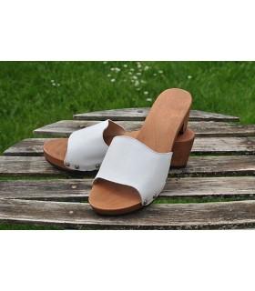 Mules flex bois et cuir simple boucle
