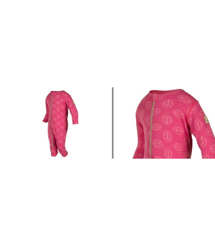 Grenouillère rose pure laine mérinos