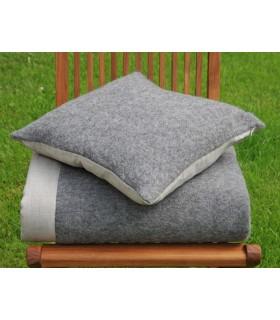 Housse de coussin nordique pure laine fermeture ZIP dos lin
