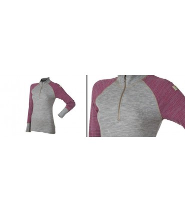 Long sleeves 100% merino wool women Zip Polo pink or navy