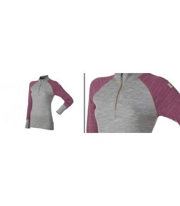Polo pure laine mérinos col protecteur gris rose ou marine femme