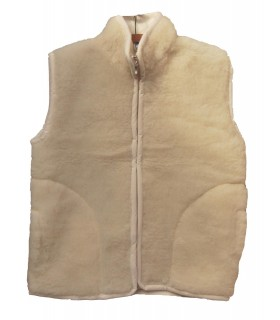 Chaleco de lana 100% sin mangas con cremallera
