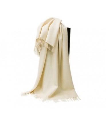 Grand plaid laine Alpaga et pure laine vierge blanc Ecru