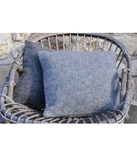 Housse de coussin laine gris moyen et foncé