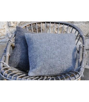 Housse de coussin pure laine fermeture ZIP gris