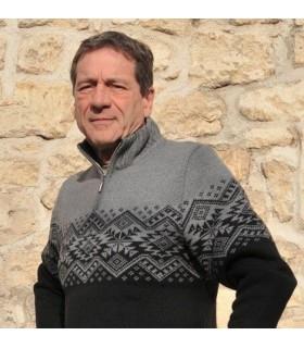 Pull laine à jacquard nordique homme