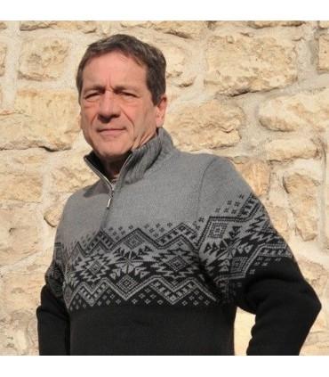 Pull norvégien laine jacquard graphique noir gris homme