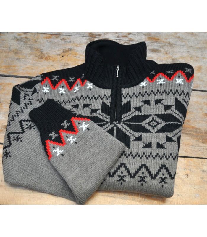 Jerseys jaquards nórdico lana hombre gris y negro