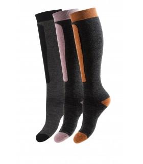 Chaussettes ski chaudes hautes laine bicolores
