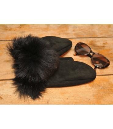Moufles Femme en peau d'agneau retournée luxueuse noir