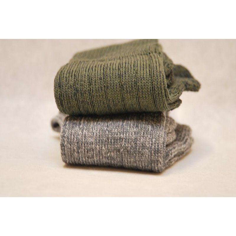 e09fe1836a8 Chaussette laine homme femme kaki et gris bouclettes - 2 + 1 gratuite
