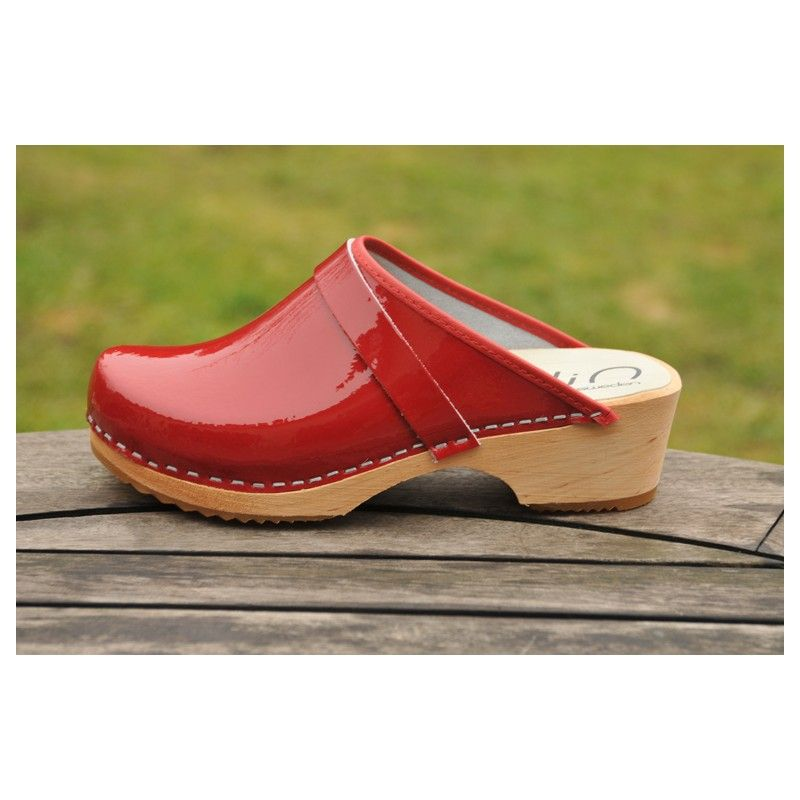 Leather swedish clogs with wooden sole for woman - Esprit ...
