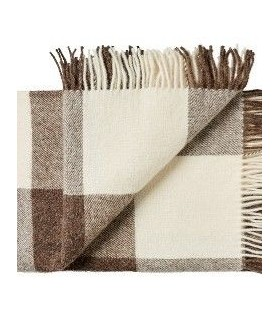 Gray pleas pure Plaid wool Scandinavian 140 x 240 cm