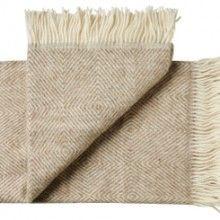 Plaid en pure laine vierge scandinave chevron beige