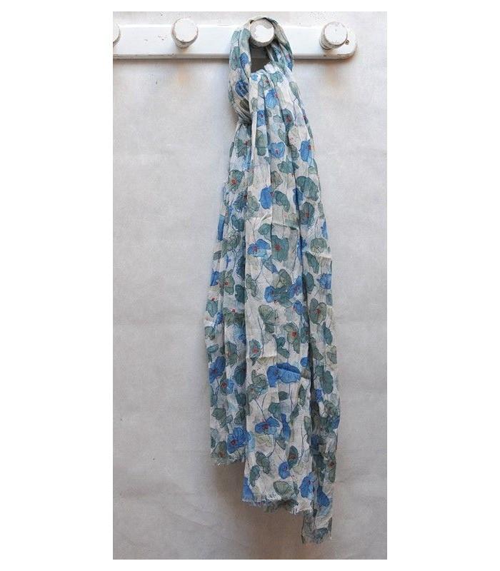 Grand foulard à fleurs de coquelicots bleu pur coton