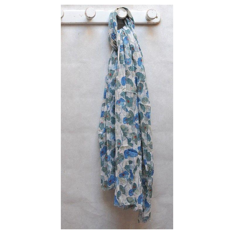 b203bf6c482a Grand foulard à fleurs de coquelicots bleu pur coton. Loading zoom