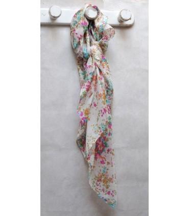 Grand foulard pure soie fleurs liberty