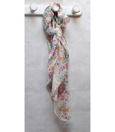Large scarf pure silk pink liberty flowers