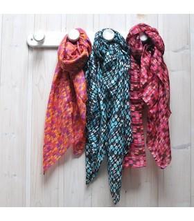 Grandes bufanda de seda puntea con diseño colorido