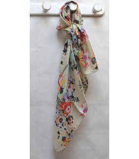 Grand foulard de soie beige bouquet fleuri