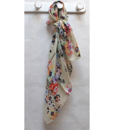 Large scarf pure silk beige bouquet of flowers