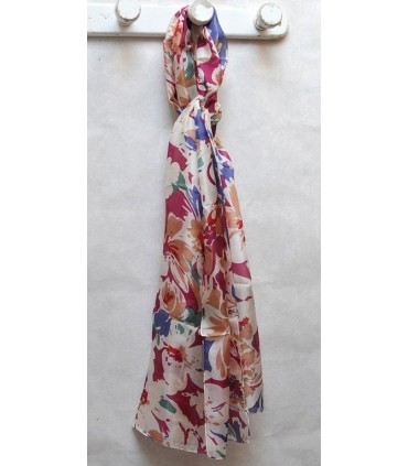 Large scarf pure silk pink or blue flowers