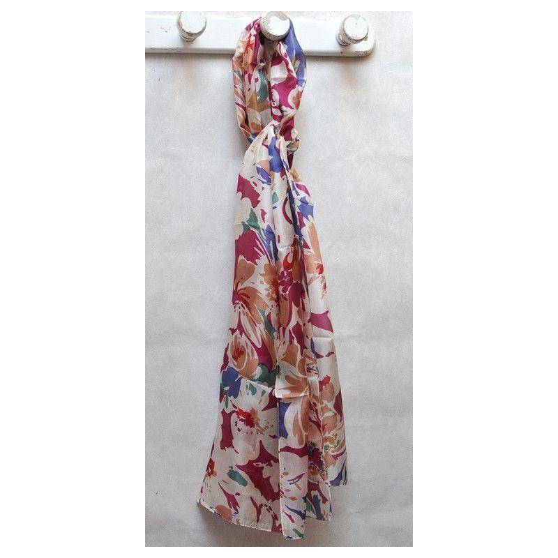 b308cbde1d2a Grand Foulard carré pure soie à fleuri bleu ou rose - Esprit Nordique