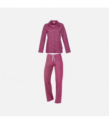 Pyjama en pur coton super peigné jersey rose framboise