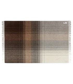 Plaid en laine alpaga et mérinos brun beige ecru