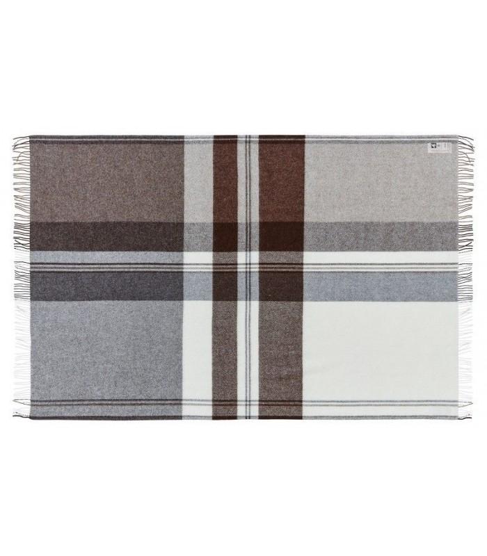 Plaid marron brun en laine mérinos et en laine d'ALPAGA marron écru