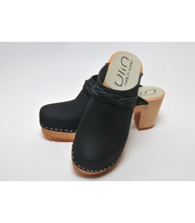 Women heels high wooden Swedish clogs and vegetal leather and nubuck