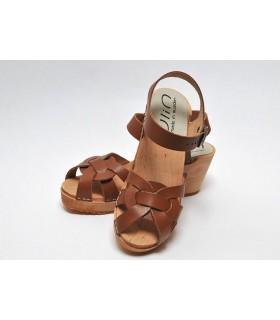 Sandales suédoises femme en cuir et talon haut bois cuir V moka
