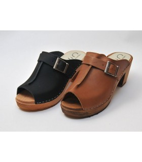 Women heels high wooden Swedish clogs and leather with clasp