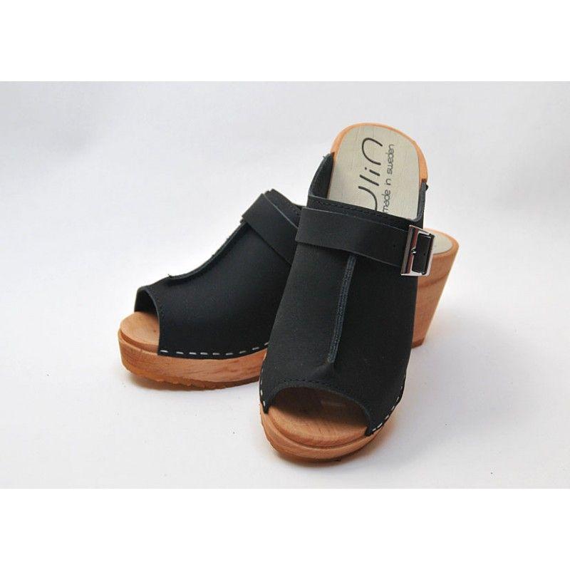 Zuecos de suecia madera mujer zapatos cuero negro y cognac - Tocones de madera ...